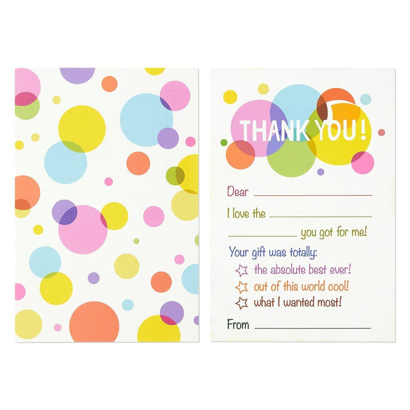 50-Count Thank You Notes, Thank You Cards - Bulk Postcard Style Greeting Cards Set – Fill-in-The-Blank Style Polka Dot Designs – Includes Envelopes, 4 x 6 Inches