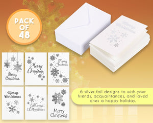 48-Pack Merry Christmas Greeting Cards Bulk Box Set - Winter Holiday Xmas Greeting Cards in 6 Silver Foil Designs, Envelopes Included, 4 x 6 Inches