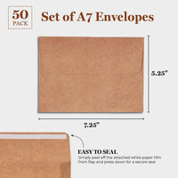 Best Paper Greetings 50-Count Kraft A7 Invitation Envelopes Bulk Set for 5 x 7 Inch Wedding Cards, Photos, Baby Shower Invites - Square Peel & Stick Flap, 5.25 x 7.25 Inches