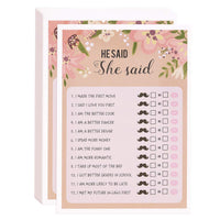 Floral Bridal Shower Games - He Said She Said Guess Game, 50 Sheet Rustic Wedding Game Cards, Party Supplies for Bachelorette Party and Wedding, 50 Vintage Cards Included, 5 x 7 Inches, Pink