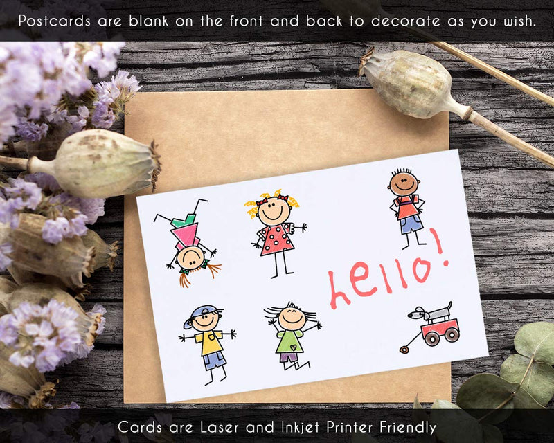 Blank Jumbo Postcards - 100-Sheet 200 Cards, Blank Note Cards, 2 Per Page, White, Perforated, Laser and Inkjet Printer Friendly, 8.5 x 5.5 Inches Per Postcard