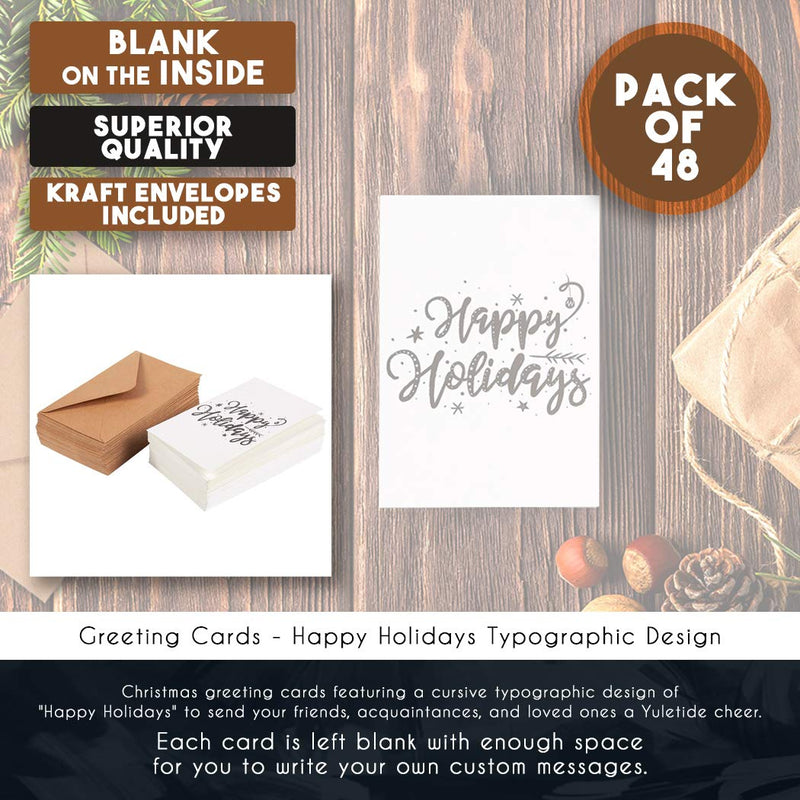 48-Pack Merry Christmas Greeting Cards Bulk Box Set - Happy Holidays Xmas Greeting Cards with Cursive Typographic Design, Envelopes Included, 4 x 6 Inches
