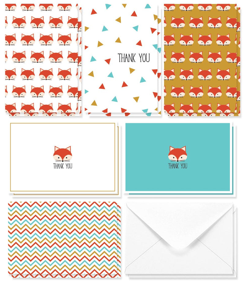 Thank You Cards - 48-Count Thank You Notes, Bulk Thank You Cards Set - Blank on The Inside, Unique Cute Fox Design - Includes Thank You Cards and Envelopes, 4 x 6 Inches