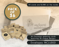 36 Pack Assorted All Occasion Kraft Greeting Cards - Includes Assorted Happy Birthday, Congratulations, Sympathy, Thank You Cards - Bulk Box Set Variety Pack with Envelopes Included - 4 x 6 Inches