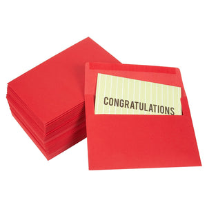 100 Pack Bright Red Color A7 Envelopes for Greeting Cards and Invitation Announcements - Value Pack Square Flap Envelopes - 5.25 x 7.25 Inches - 100 Count