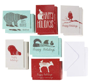 144-Pack Merry Christmas Holiday Greeting Card - Happy Holidays Xmas Cards in 6 Winter Animal Designs, Bulk Assorted Winter Holiday Cards with Envelopes, 4 x 6 Inches