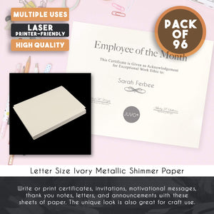 Shimmer Paper – 96-Pack Pale Yellow Metallic Cardstock Paper, Double Sided, Laser Printer Friendly - Perfect for Weddings, Baby Showers, Birthdays, Craft, Letter Size Sheets, 8.7 x 0.03 x 11 Inches