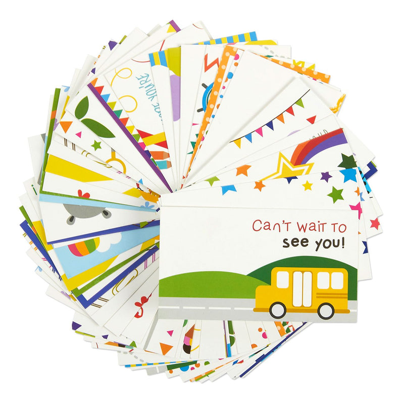 Juvale Pack of 60 Lunch Box Notes - Colorful Inspirational and Motivational Cards for Kids, 2 x 3.5 Inches
