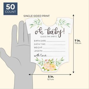 Sparkle and Bash Baby Shower Prediction Statistics Die Cut Cards (50 Count)