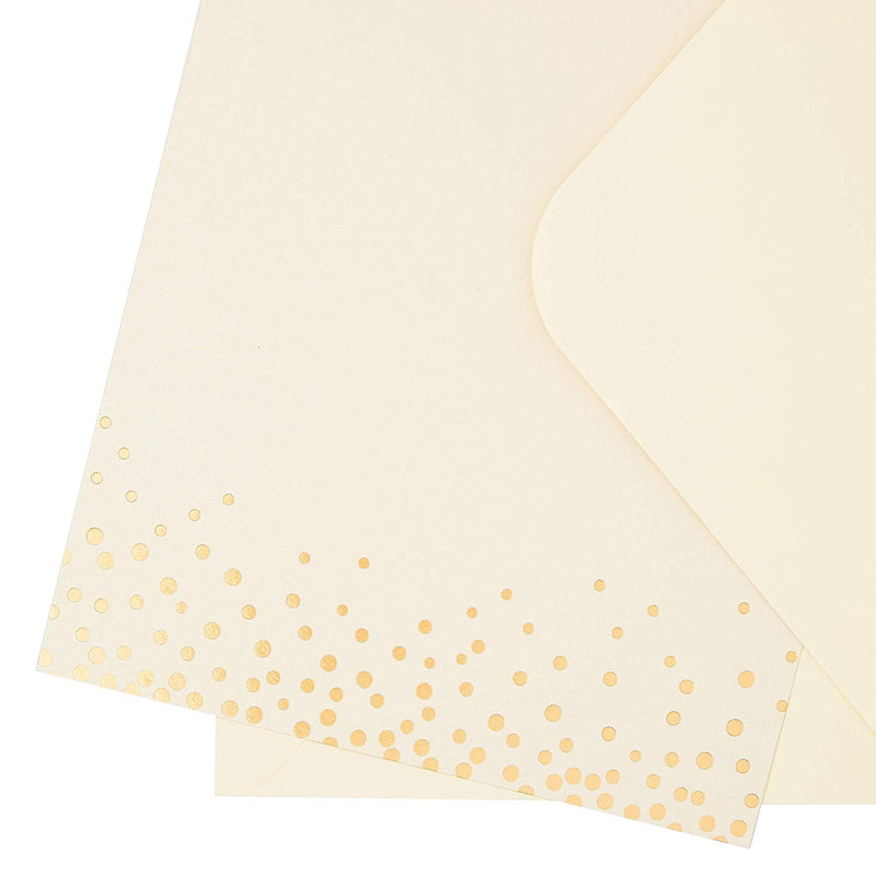 Sustainable Greetings 50-Pack Blank Flat DIY Party Invitation Cards with Envelopes, Gold Foil Design, 5 x 7 Inches