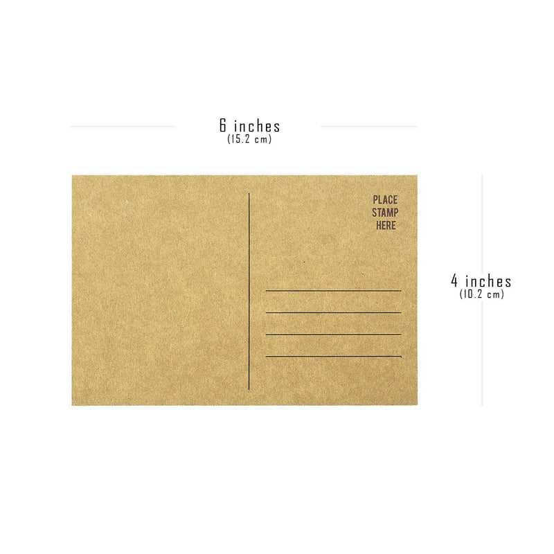 Set of 50 Brown Kraft Paper Blank Postcards Pack - Self Mailer Mailing Side Postcards 50 Pack Postage Saver - 4 x 6 Inches