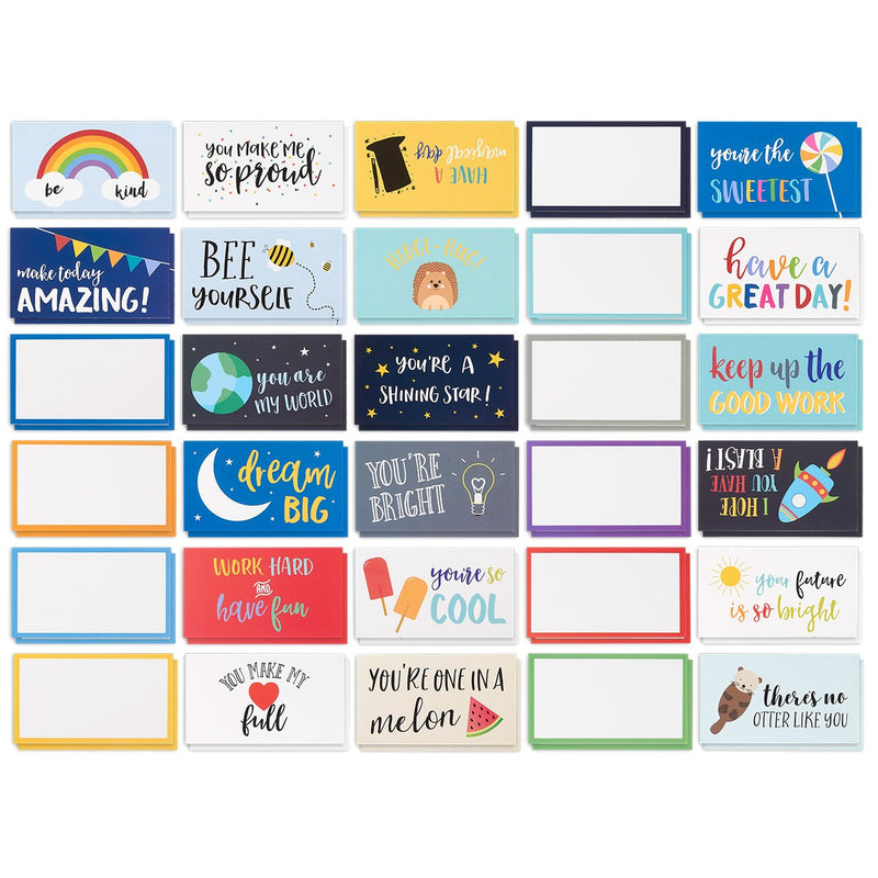 Best Paper Greetings Pack of 60 Lunch Box Notes - Colorful Inspirational and Motivational Cards for Kids, 2 x 3.5 Inches