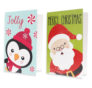 48-Pack Christmas Greeting Card – Assorted Holidays Xmas Cards in 6 Festive Character Designs with Penguin, Snowman, Santa, Polar Bears, and Snowflakes, Envelopes Included, 4 x 6 Inches