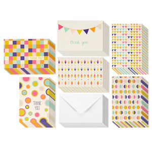 Thank You Cards - 48-Count Thank You Notes, Bulk Thank You Cards Set - Blank on the Inside, Unique Retro Geometric Design - Includes Thank You Cards and Envelopes, 4 x 6 Inches