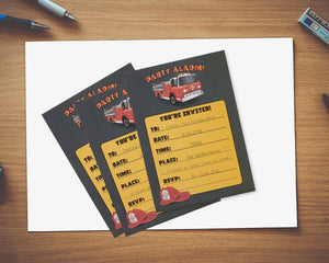 Fire Truck Invitation Cards - 24 Fill-in Invites with Envelopes for Kids Birthday Bash and Theme Party, 5 x 7 Inches, Postcard Style