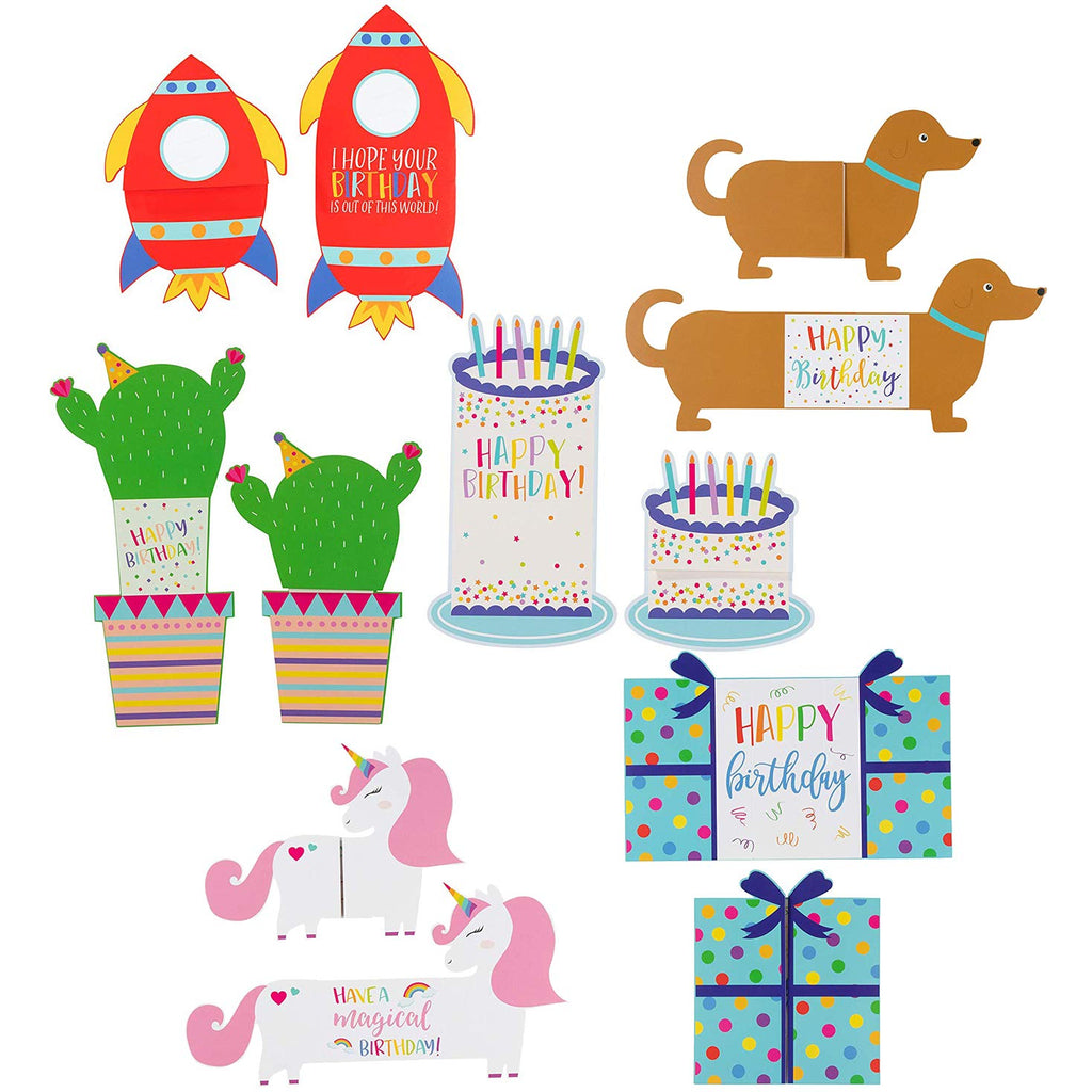Sustainable Greetings Kids Die Cut Tri-Fold Birthday Cards with Envelopes (24 Pack) 6 Designs