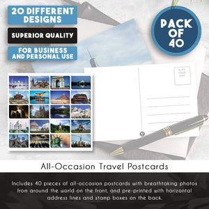 Travel Postcards - 40-Pack Around The World Postcards, Assorted Postcards Bulk, 20 Different Designs, 4 x 6 Inches