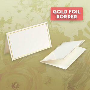 Pack of 100 Place Cards - Small Tent Cards with Gold Foil Border - Perfect for Weddings, Banquets, Events, 2 x 3.5 Inches
