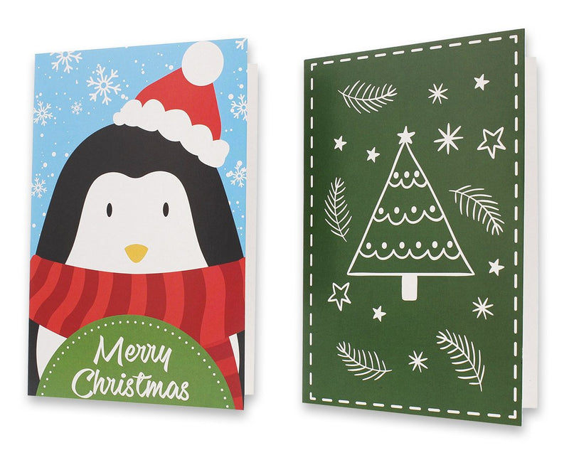 36-Pack Merry Christmas Holiday Greeting Cards Bulk Box Set - Assorted Winter Holiday Xmas Kraft Greeting Cards in 36 Cute Designs, Envelopes Included, 4 x 6 Inches