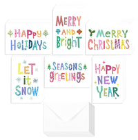 48 Pack of Christmas Winter Holiday Family Greeting Cards - Bright Christmas Saying's Designs - Boxed with 48 Count White Envelopes Included - 4.5 x 6.25 Inches