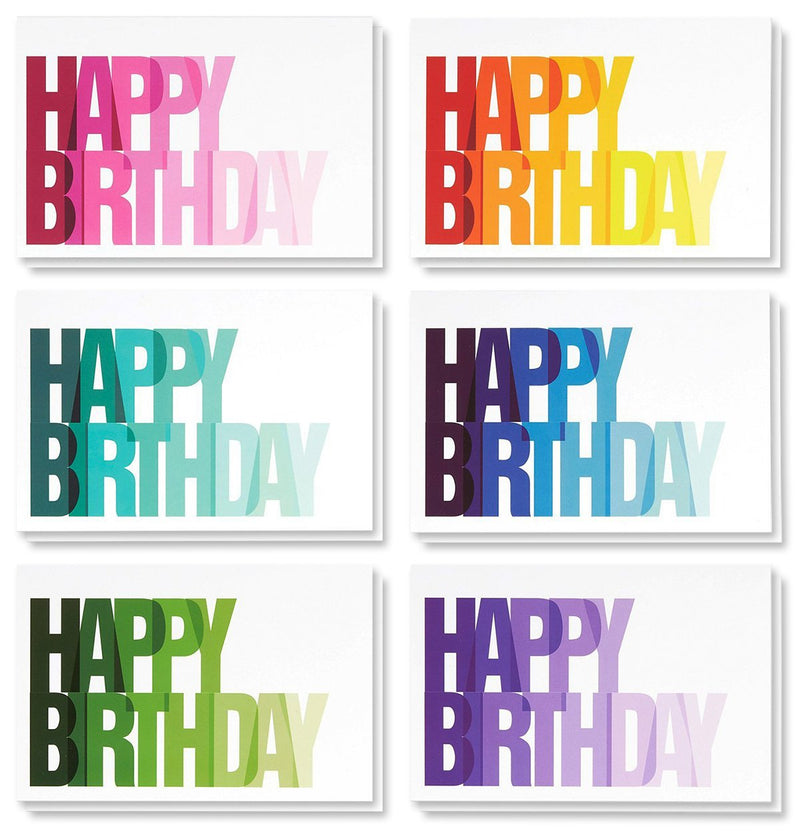 Birthday Card - 48-Pack Birthday Cards Bulk Box Set, Happy Birthday Cards, 6 Colorful Ombre Happy Birthday Designs with Blank on The Inside, Envelopes Included, 4 x 6 Inches