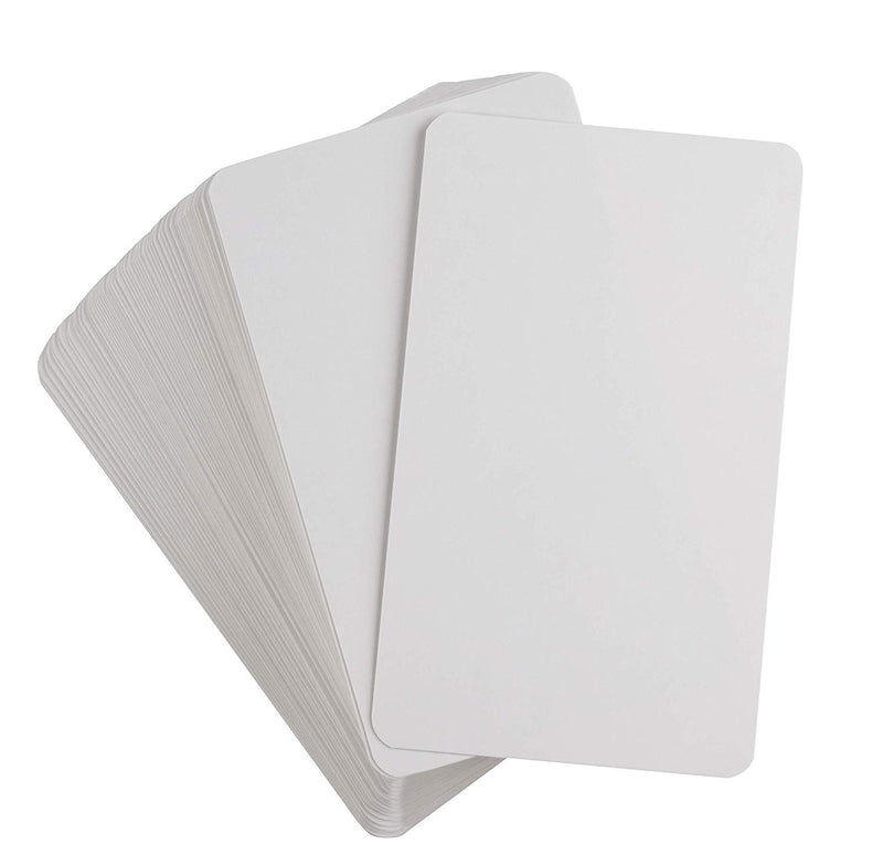 Blank Playing Cards - 200-Piece Reusable Flash Cards, Index Cards, Dry Erase Cards, Whiteboard Cards, for DIY Game Card, Students, School, Classroom, Memory Game, 3 x 5 Inches