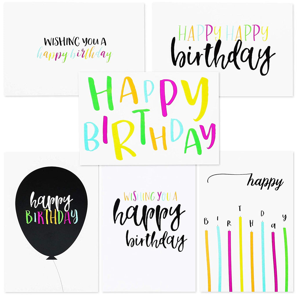 Best Paper Greetings 48-Pack Happy Birthday Single-Side Note Cards with Envelopes - Postcard Style Bulk Box Variety Set, 4 x 6 Inches