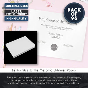Shimmer Paper – 96-Pack White Metallic Cardstock Paper, Double Sided, Laser Printer Friendly - Perfect for Weddings, Baby Showers, Birthdays, Craft Use, Letter Size Sheets, 8.7 x 0.03 x 11 Inches