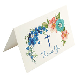 Christian Thank You Cards - 48-Pack Thank You Note Cards Ideal for Christening, Communion, Weddings and Religious Occasions - Includes Brown Kraft Paper Envelopes, 4 x 6 Inches