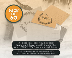 60-Pack Thank You Postcards - Kraft Paper - All Occasion Post Cards with Mailing Side- Flower Wreath Design - 4 x 6 Inches