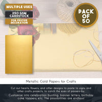 Metallic Shimmer Gold Cardstock Paper Sheets (50 Count)
