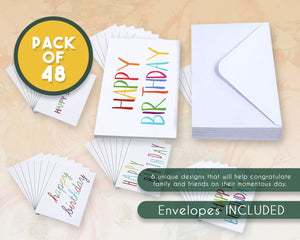 Birthday Cards Bulk – 48-Pack Blank Birthday Cards, Happy Birthday Greeting Cards, 6 Colorful Rainbow Font Designs, Envelopes Included, 4 x 6 Inches