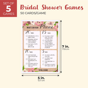 Best Paper Greetings Set of 5 Floral Bridal Shower Wedding Games, 50 Cards Each Game, 5 x 7 Inches