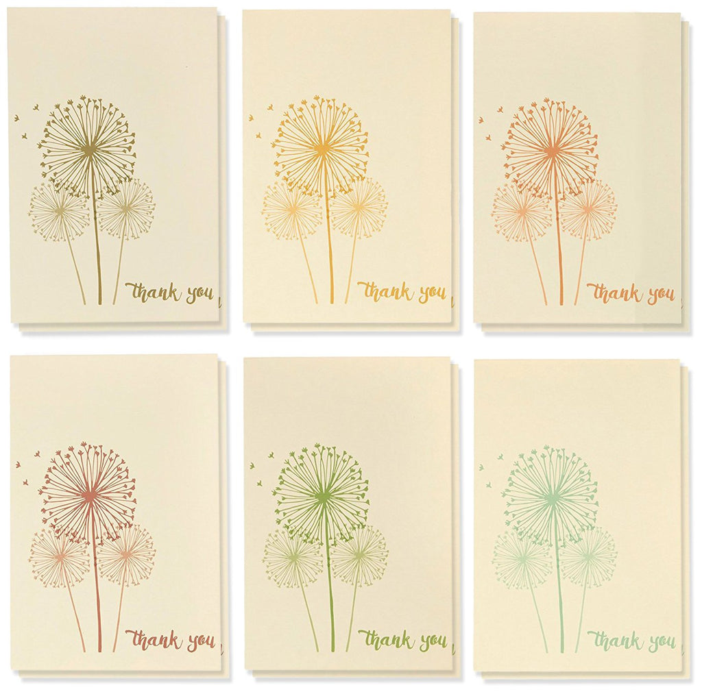 Thank You Cards - 48-Count Thank You Notes, Bulk Thank You Cards Set - Blank on The Inside, 6 Vintage Dandelion Designs - Includes Thank You Cards and Envelopes, 4 x 6 Inches