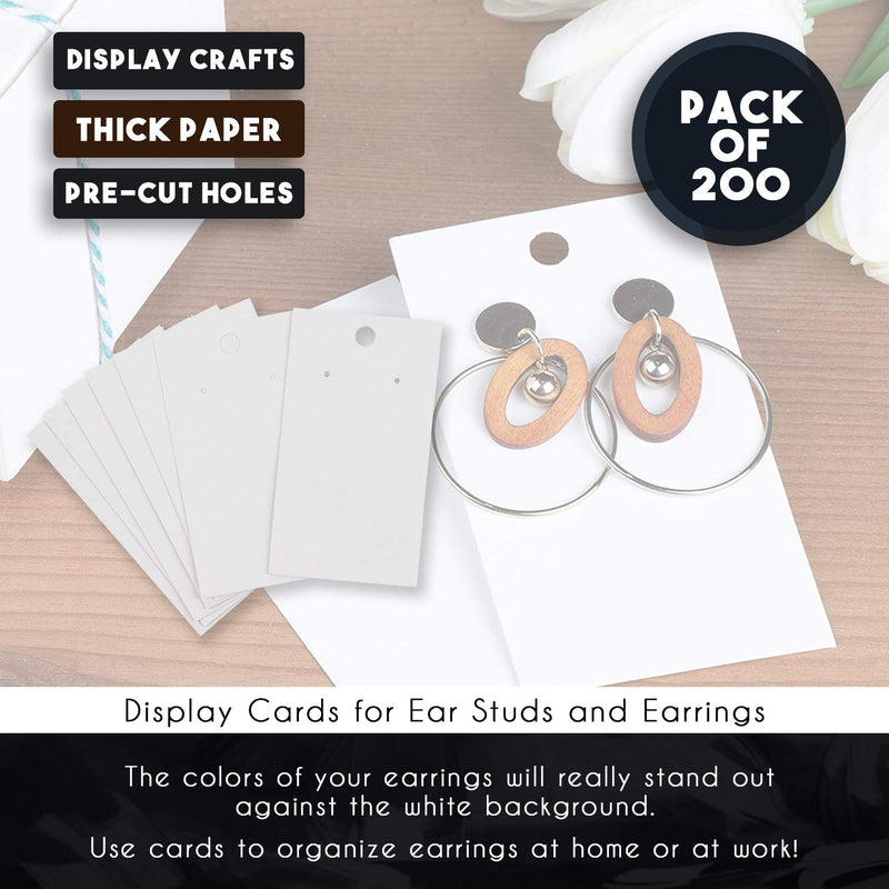 Earring Cards - 200-Pack Hanging Earring Card Holder, Blank Earring Jewelry Display Cards for Ear Studs, Earrings, White, 3.5 x 2 Inches