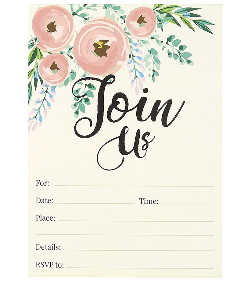 Watercolor Join Us Invitation Cards - 50 Fill-in Floral Classy Invites with Envelopes for Kids Birthday, Bridal Shower, Wedding, 5 x 7 Inches, Postcard Style
