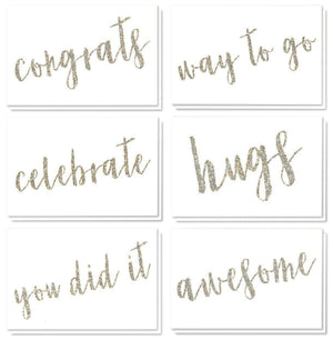 36 Pack All Occasion Sentiments Glitter Greeting Cards, 6 Assorted Congrats, You Did It, Celebrate, Hugs, Awesome, Hugs Designs, Bulk Box Set Variety Assortment, Envelopes Included, 4 x 6 Inches