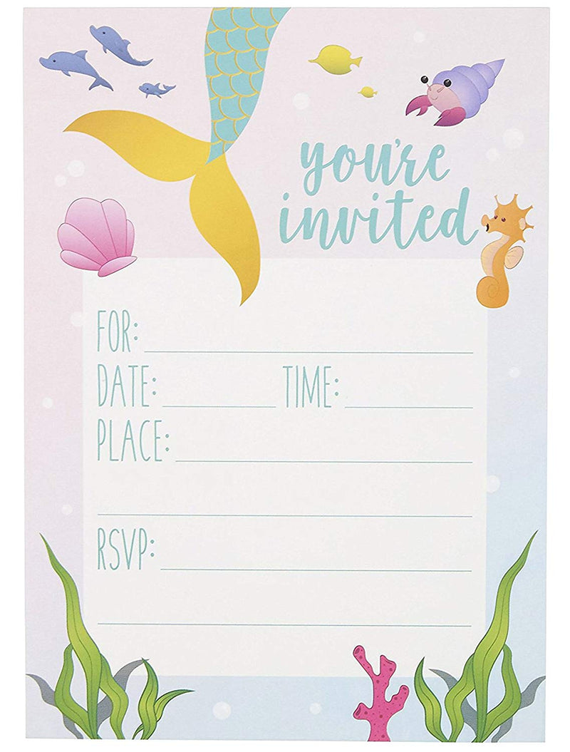Mermaid Party Invitations - 24 Fill-in Invites with White Envelopes - Postcards for Kids Birthday, Girls Party and Baby Shower, 5 x 7 Inches, Pink and Blue