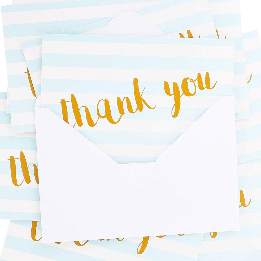 Juvale 12 Count Thank You Note Cards Bulk Set - Blank Inside, Envelopes Included, 4 x 6 Inches