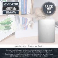 Metallic Silver Papers - 50-Pack Metallic Silver Cardstock, Shimmer Paper for Crafts, Wedding, Baby Shower, A4 Size 250gsm Cardstock, 11.75 x 8.5 Inches