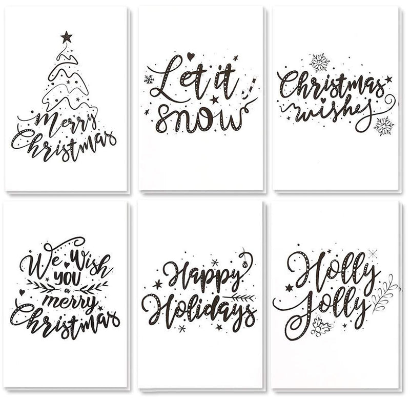 48-Pack Merry Christmas Greeting Cards Bulk Box Set - Winter Holiday Xmas Greeting Cards with Artistic Word Art Design, Envelopes Included, 4 x 6 Inches