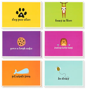 Sympathy Cards Box Set – 48 Pack Sympathy Cards for Kids, 6 Cute Animal Designs, Get Well Cards Bulk, Envelopes Included, 4 x 6 Inches