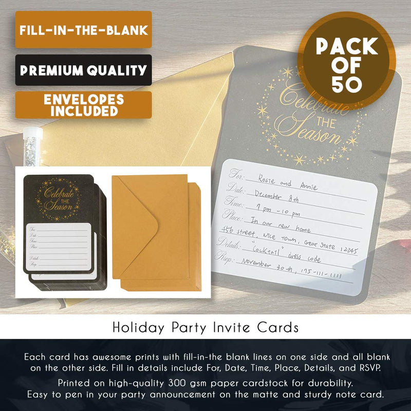 Party Invitation Cards – 50-Pack Christmas Holiday Party Invite Cards, Fill-in Invitations with Envelopes for Xmas Party Event or New Years with Celebrate The Season Print Design, 5 x 7 inches