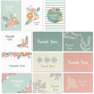 Best Paper Greetings 96-Pack Thank You Note Cards Bulk Box Set with Envelopes - 12 All Occasion Assorted Floral Designs, 4 x 6 Inches