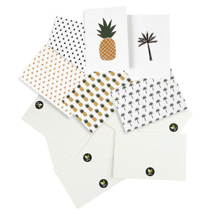 Best Paper Greetings 48-Pack All Occasion Tropical Hawaiian Blank Note Cards Bulk Box Set - 6 Pineapple and Palm Tree Designs with Envelopes, 4 x 6 Inches