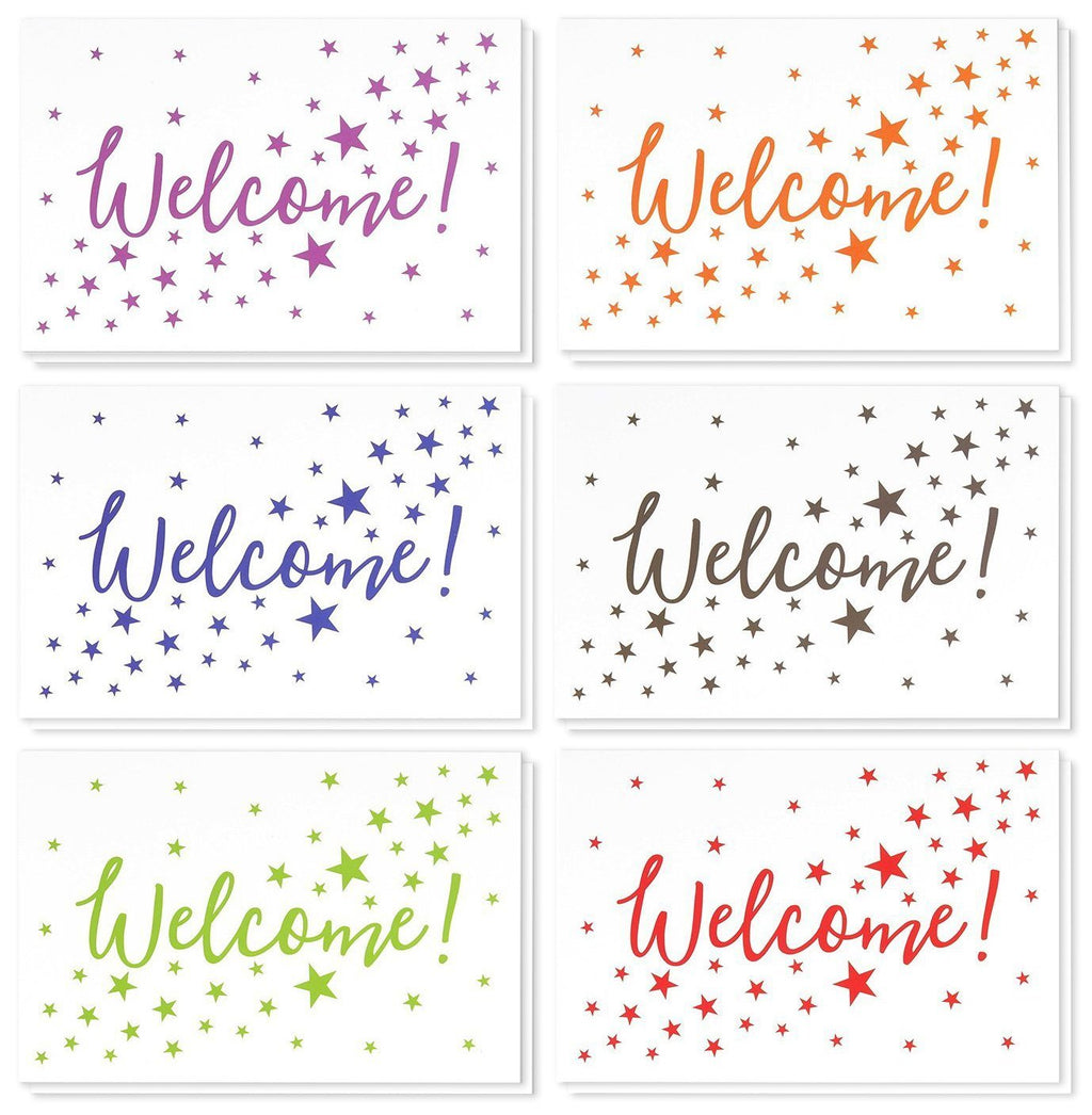 36 Assorted Pack Welcome Note Cards - Bulk Box Set - Blank on The Inside - 6 Colorful Star Pattern Designs - Includes 36 Greeting Cards and Envelopes - 4 x 6 Inches