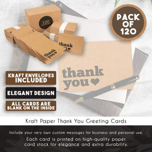 Kraft Thank You Cards Bulk- 120-Pack Rustic Thank You Cards, Thank You Notes, Box Set Thank You Cards and Envelopes, 3.5 x 5 Inches