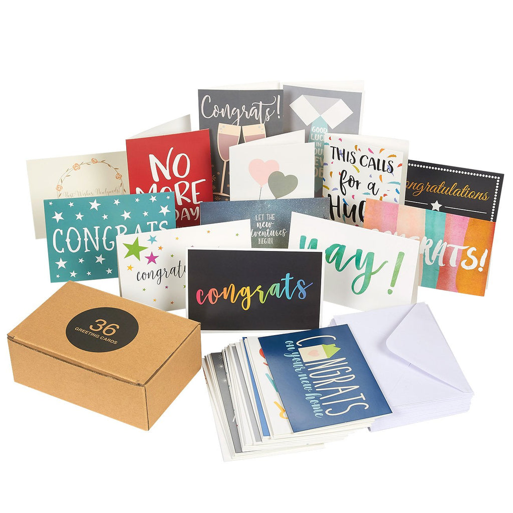 36 Pack Assorted All Occasion Greeting Cards with Envelopes - Featuring Congratulations Cards - 4 x 6 Inches
