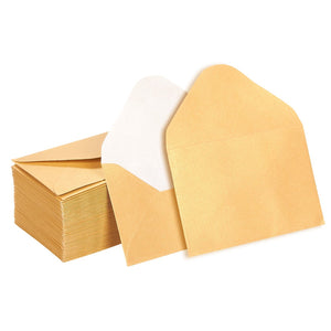 Mini Envelopes - 100-Count Bulk Gift Card Envelopes, Gold Business Card Envelopes, Bulk Tiny Envelope Pockets for Small Note Cards, 4 x 2.7 Inches