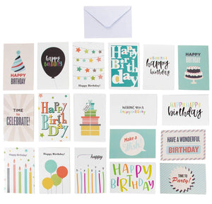 144-Pack Happy Birthday Cards - Includes 18 Colorful Designs with Party Hats, Balloons, Gift Boxes, Birthday Cake and Stars, 8 of Each, Bulk Box Set Variety Pack with Envelopes Included, 4 x 6 Inches